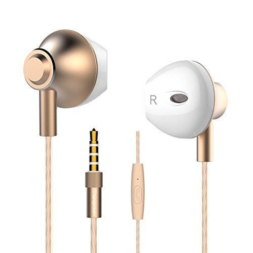 Personalized Apple Style Earbuds , Langsdom F9 Headphones Powerful Bass Remote Control with Microphone for iPhone, iPad, Samsung, Android,MP3 & MP4 Players (Gold, Case )
