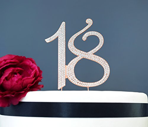 Birthday Cakes Roses - 18 ROSE GOLD Cake Topper | Premium Sparkly Diamond Crystal Gem Rhinestones | 18th Birthday or Anniversary Party Decoration Ideas | Quality Metal Alloy | Perfect Keepsake (18 Rose Gold)