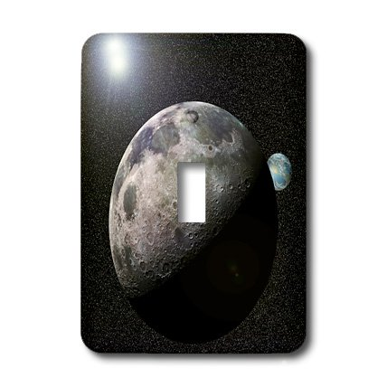 3dRose LLC lsp_19949_1 Moon Dance Solar System Scene of Planet Earth and Moon Dancing in Space Orbit - Single Toggle Switch