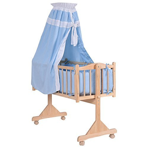 Wood Baby Cradle Rocking Crib Newborn Bassinet Bed Sleeper Portable Nursery (Blue)