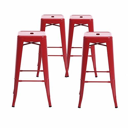 (Buschman Set Four Matte Red 30 inches Bar Height Metal Bar Stools, Indoor/Outdoor, Stackable)