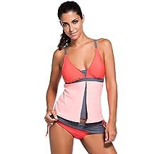 Ninimour Womens 2 Pieces Colorblock Tankini Skort Bottom Swimsuit