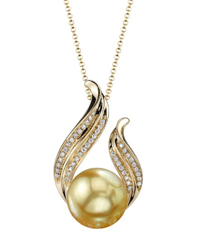 THE PEARL SOURCE 14K Gold 10-11mm Round Golden South Sea Cultured Pearl & Diamond Tiara Pendant Necklace for Women