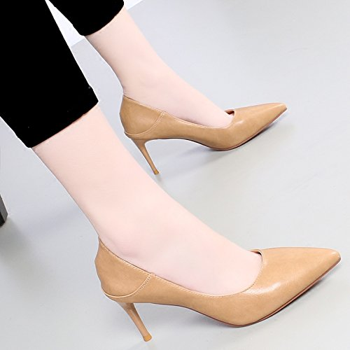 And Spring The Beige Versatile KPHY Beige With Heeled In Shoes Of Fine Tip Shallow Shoes Girl High Mouth Single 7Cm wXxxqCPOI