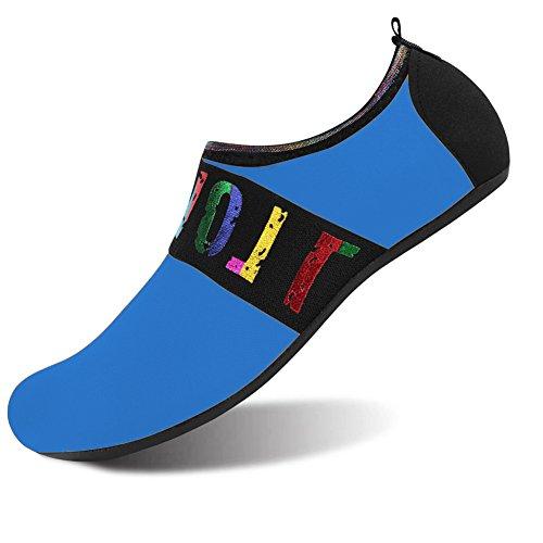 JOINFREE Damen Herren Kid Sommer Wasser Schuhe Barfuß Schuh Quick Dry Aqua Socken Yoga Band Blau