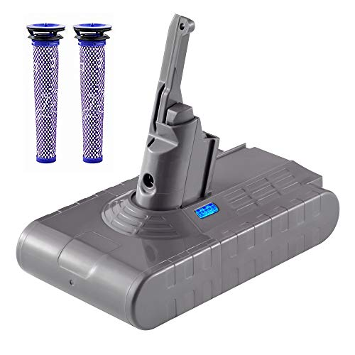 DSANKE 21.6V 4500mAh Lithium Battery with Two Filters Replaceable for Dyson V8 Absolute V8 Cordless Animal Vacuum Cleaner V8 Cordless Vacuum Cleaner