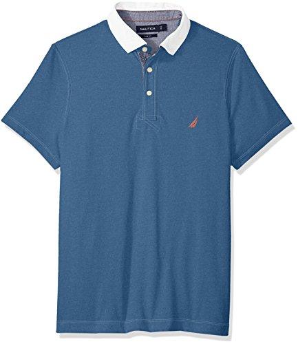 Nautica Men's Short Sleeve Slim Fit Vintage Heritage Look Polo Shirt, Blue nile Heather, X-Large - Jersey Vintage Polo Shirt