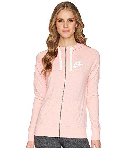 Nike Womens Gym Vintage Full Zip Hooded Sweatshirt (Bleached Coral/Sail, Medium)