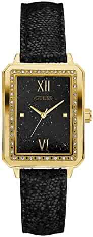 GUESS Factory Women's Black and Gold-Tone Rectangle Watch