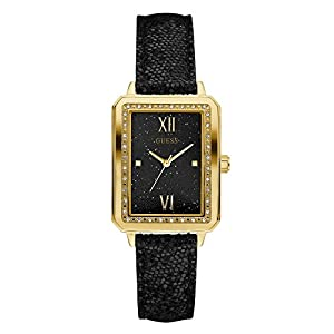 GUESS Factory Women's Black and Gold-Tone Rectangle Watch, NS