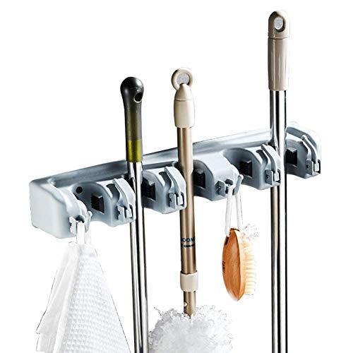 LMEIL Broom Holder and Garden Tool Organizer Rake or Mop Handles (Grey)