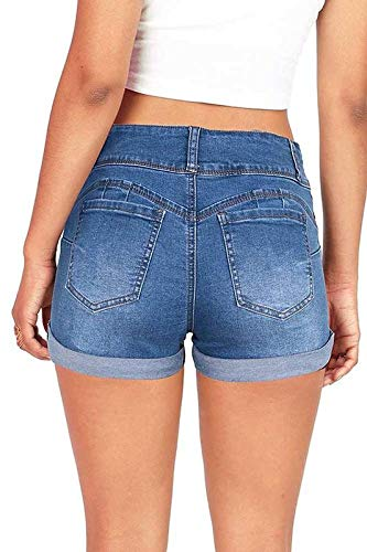 Wax Women's Juniors Stetchy Mid Rise Denim Shorts (S, Medium Denim)