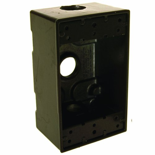 Pvc Switch Box - Hubbell-Raco 5320-2 Weatherproof Box, 1 Gang, 18.3 Cu-in X 4-1/2 in L X 2-3/4 in W X 2 in D, Cubic inches, Bronze