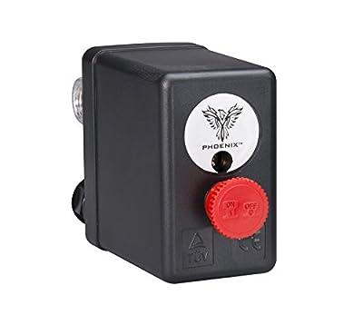 Interstate Pneumatics LF10-L4H Pressure Switch - 1/4 inch FPT Four Port - Push Pull Swicth 85-125 psi fits Dewalt Hitachi Emglo Porter Cable Ridgid Makita Rolair air compressors