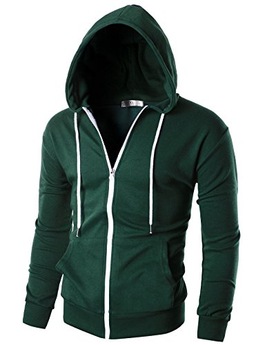 Ohoo Mens Slim Fit Long Sleeve Lightweight Zip-up Hoodie with Kanga Pocket/DCF002-GREEN-S