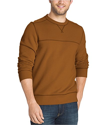 G.H. Bass & Co. Men's Mountain Wash Fleece Crew Long Sleeve Sweatshirt, Small, Leather Brown ()