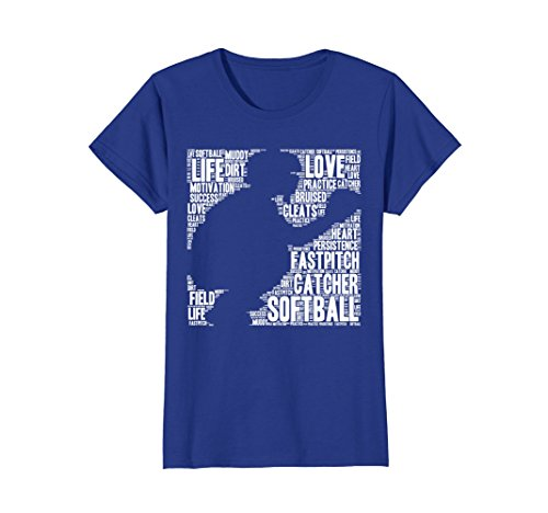 Womens Softball Catcher Fastpitch T Shirt Softball Mom Youth Kid Medium Royal Blue