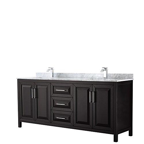Wyndham Collection Daria 80 inch Double Bathroom Vanity in Dark Espresso, White Carrara Marble Countertop, Undermount Square Sinks, and No Mirror