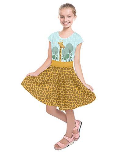 PattyCandy Girls Adorable Giraffe Pattern Short Sleeve Dress - 12 -