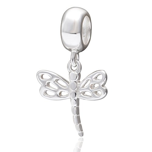 Dragonfly Charm 925 Sterling Silver Animal Charm Dangle Charm Pet Charm for Pandora Bracelet (Dragonfly)