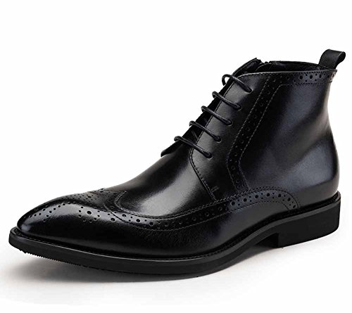 GLSHI Men British Leather Boots New European Edition Brogue Carved Martin Boots Men Goodyear Low Tube Male (Color : Black, Size : 42) ()