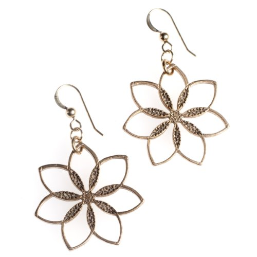 Flower Power! Peace Bronze Earrings on French Hooks