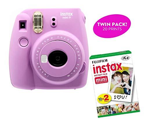 Fujifilm Instax Mini 9 Instant Print Camera (Certified Refurbished) Plus Twin Pack Film Starter Bundle   10 Sheets x 2 = 20 White Frame Instant Exposure Photograph Sheets (Smokey Purple)