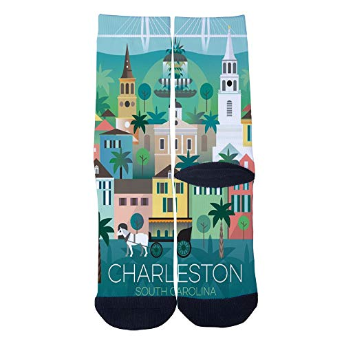 Men's Women's Custom Charleston South Carolina Travel poster Socks Colorful Funky Creative Casual Crew Socks Black]()