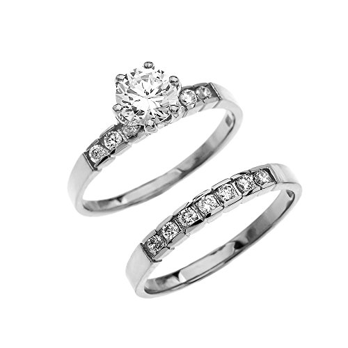 (10k White Gold Diamond Engagement and Wedding Ring Set With 1 Carat White Topaz Solitaire Centerstone (Size 7))
