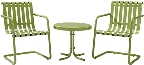 Crosley Furniture Gracie 3-Piece Retro Metal Outdoor Conversation Set with Side Table and 2 Chairs - Oasis - Furniture Vintage Metal Outdoor