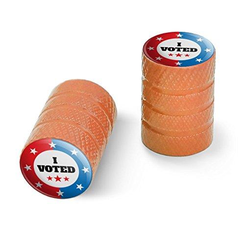 私は赤い白青愛国に投票しましたオートバイ自転車バイクタイヤリムホイールアルミバルブステムキャップ - オレンジ