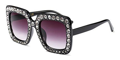 Soleil diamant Femme Lunettes Dintang Oversize Classique de Rétro Mode Gris Rectangulaire Blanc Lunettes BwfOx