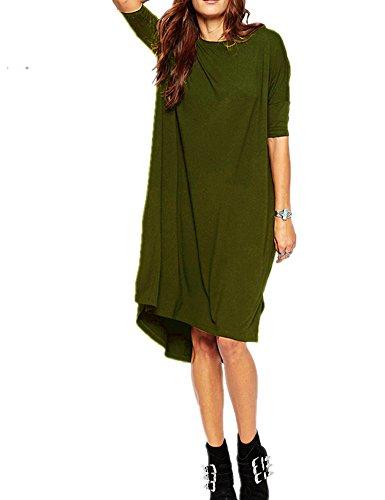Haola Women's Loose T Shirt Dress Home Short Shirts Mini Dresses Tops XXL ArmyGreen