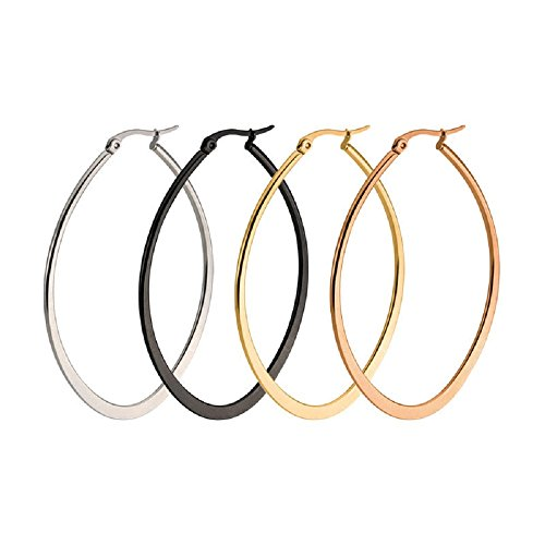 (Teardrop Oval Hoop Earrings for Women Girls Sensitive Ears Gold Rose Gold Black Huggie Hoops 50mm(2