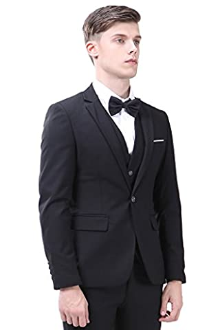Men's Suit 3-Piece One Button Vintage Church Suit for Men Black Suit US 36R - Button Fly Suit