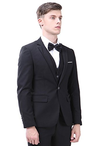 Men's Suit 3-Piece One Button Vintage Church Suit for Men Black Suit US 42R