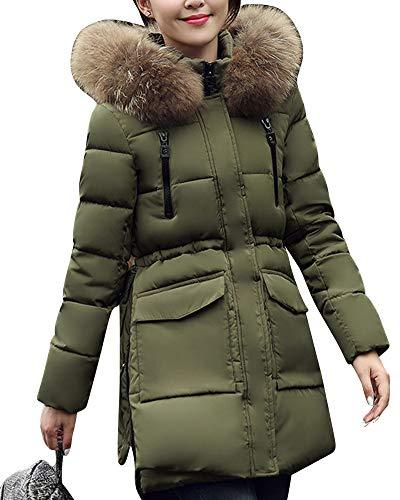Cappotto Con Cappuccio Zhuikuna Large Green Fur Jacket Pure Faux Padded Plus Size Lungo Women Color nqqz8wYrZ