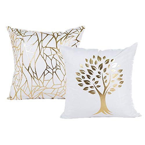 Vinerstar White Sofa Throw Pillow Covers 18 x 18 (45cm x 45cm) Gold Stamping Love Tree Geometric Square Decorative Super Soft Cushion Cover for Sofa Couch Patio Set of 2 (Irregular and Tree)