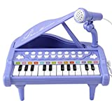 Baby Piano Toy Toddler Piano Keyboard Toy for Girls Birthday Gift Toys- Musical Instruments for Kids Portable Electronic Keyboard Piano Toy 24 Keys Purple