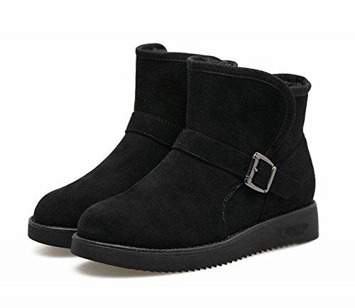 Cachemira Hebilla Explosiones Salvaje Casual Black Engrosamiento Zapatos Botas De Planas Metal Moda Nieve Además Perezoso Meili Mujer Cálido xPYq1nOwwF