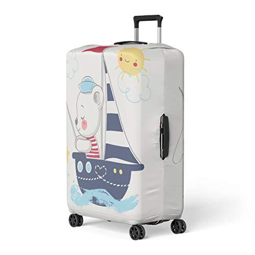 Semtomn Luggage Cover Blue Boy Cute Bear Sailor Ship Cartoon Baby Girl Travel Suitcase Cover Protector Baggage Case Fits 18-22 - Sailor Blue Bear
