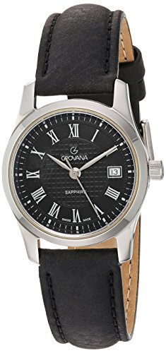 Grovana Women's 3215-1534 Traditional Analog Display Swiss Quartz Black Watch