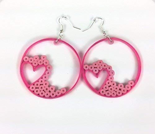 Pink Heart Hoop Earrings Paper Anniversary Gift for Wife Woman Girlfriend Jewelry Box Unique Idea -