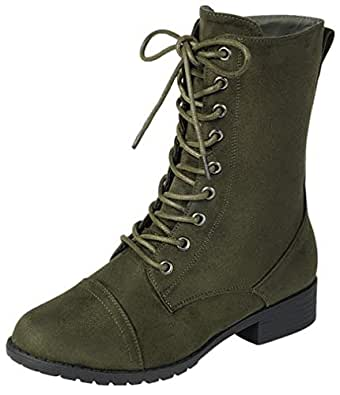 Forever Link Womens Round Toe Military Lace up Knit Ankle Cuff Low Heel Combat Boots Green Size: 5