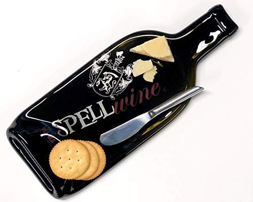 Spell Wine Napa Valley Hex Red Melted Wine Bottle Cheese Tray with Cheese Spreader - Chef Spreader
