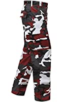 Camouflage Military BDU Pants, Army Cargo Fatigues (Red Camouflage)