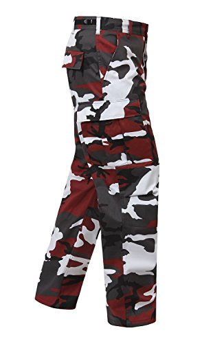 Camouflage Military BDU Pants, Army Cargo Fatigues (Red Camouflage, Size Medium)