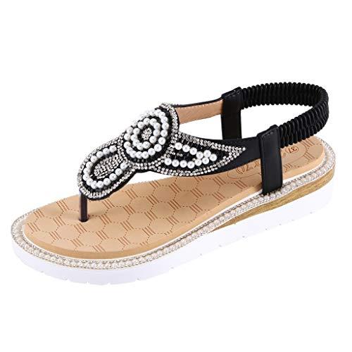 BODOAO Flat Bohemia String Bead Sandals Summer Women Beach Casual Shoes Black