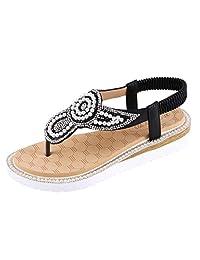 Jesper Summer Ladies Boho Sandals Women Jeweled Bohemia Flat String Bead Sandals Beach Casual Shoes