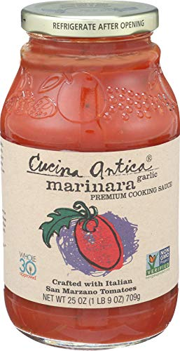 Cucina Antica - Garlic Marinara Pasta Sauce - 25oz (Pack of 6) - Non GMO, Whole 30 Approved, Gluten Free (Homemade Spaghetti Sauce With Fresh Tomatoes And Herbs)